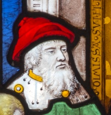 stained glass portrait of a man.